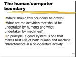 the human computer boundary