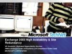 exchange 2003 high availability site redundancy