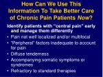 how can we use this information to take better care of chronic pain patients now
