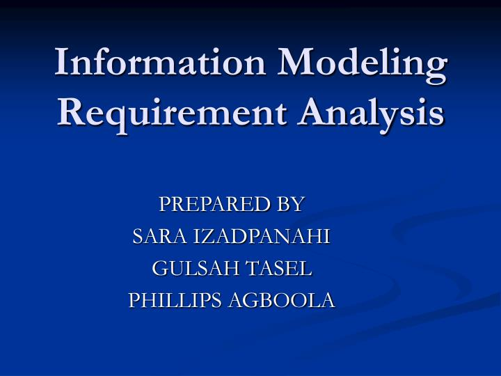 information modeling requirement analysis n.