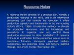 resource holon