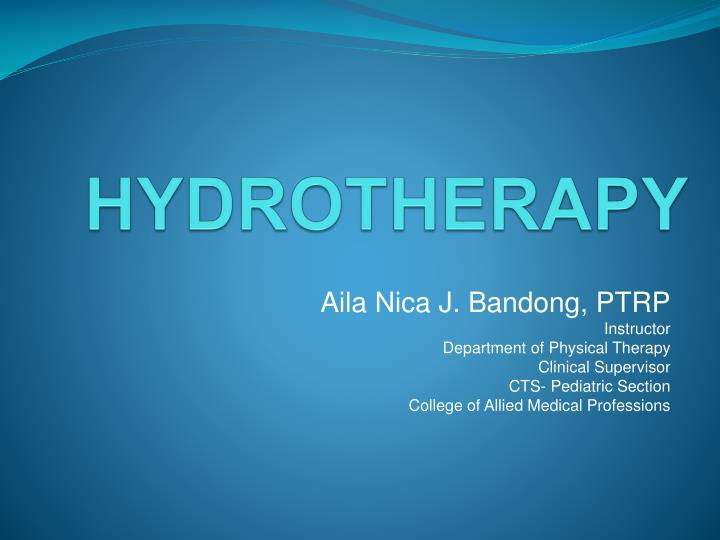 hydrotherapy n.