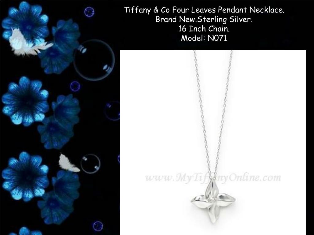 tiffany co four leaves pendant necklace brand new sterling silver 16 inch chain model n071 l.