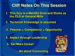 cliff notes on this session