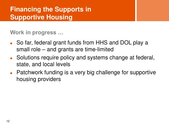 Financing the Supports in Supportive Housing