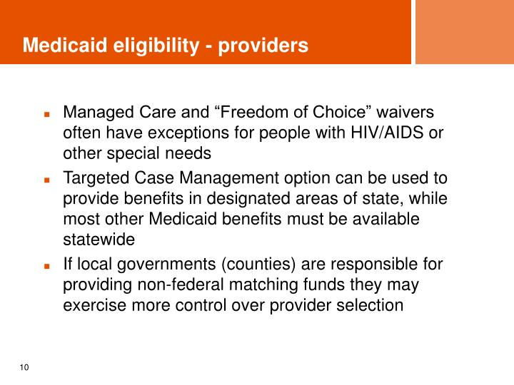 Medicaid eligibility - providers