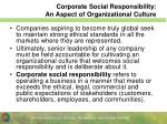 corporate social responsibility an aspect of organizational culture