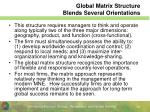global matrix structure blends several orientations