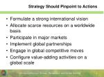 strategy should pinpoint to actions