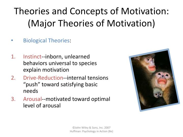 theories and concepts of motivation Published: mon, 5 dec 2016 motivation is a general and common word in the business world but it is quiet difficult to explain it in a scientific way the idea or concept of motivation is quite different from other concepts like as instincts, drives and reaction of policy but at some extent it is also related with theses all concepts.