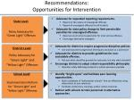 recommendations opportunities for intervention