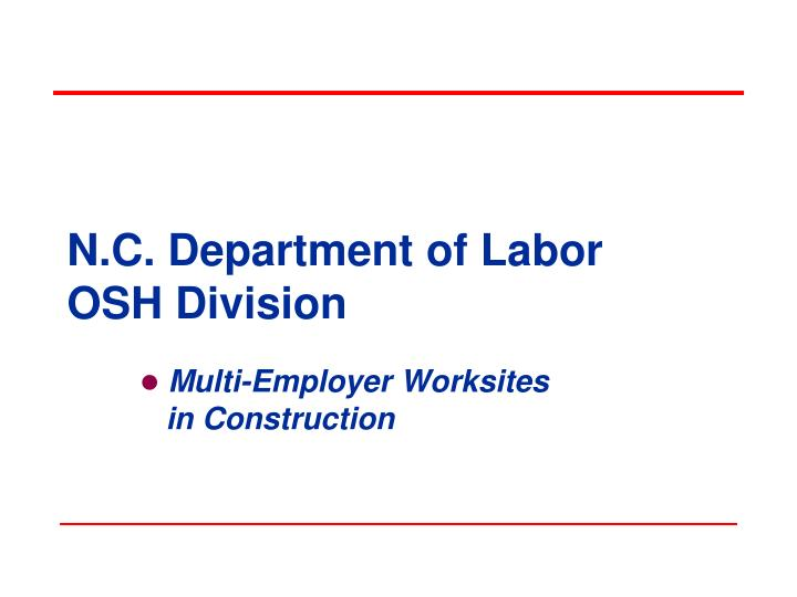 n c department of labor osh division n.