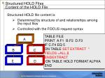 structured hold fiies content of the hold file