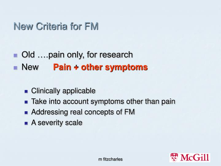 new criteria for fm n.