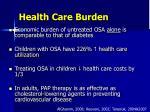 health care burden