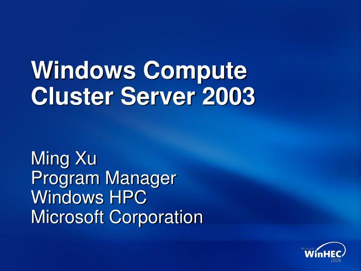 windows compute cluster server 2003 n.