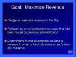 goal maximize revenue
