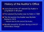 history of the auditor s office