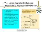 7 4 large sample confidence interval for a population proportion3