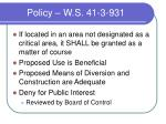 policy w s 41 3 931
