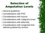 selection of amputation levels
