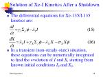solution of xe i kinetics after a shutdown