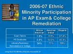 2006 07 ethnic minority participation in ap exam college remediation