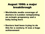 august 1996 a major breakthrough