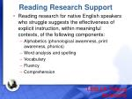 reading research support