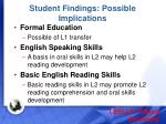 student findings possible implications