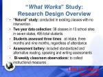 what works study research design overview