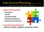 life course planning based on the behavioral ecologic model of health