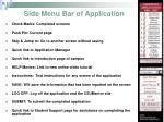 side menu bar of application