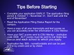 tips before starting
