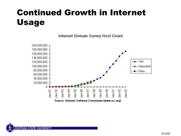 Continued growth in internet usage