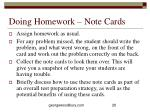 doing homework note cards
