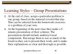 learning styles group presentations