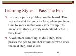 learning styles pass the pen