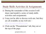 study skills activities assignments
