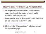 study skills activities assignments