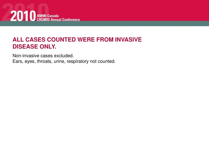 ALL CASES COUNTED WERE FROM INVASIVE