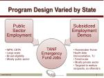 program design varied by state