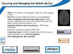 securing and managing the mobile device