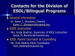 contacts for the division of esol bilingual programs