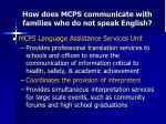 how does mcps communicate with families who do not speak english