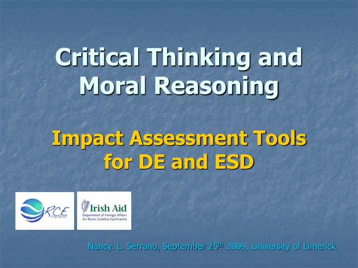 critical thinking and moral reasoning impact assessment tools for de and esd n.