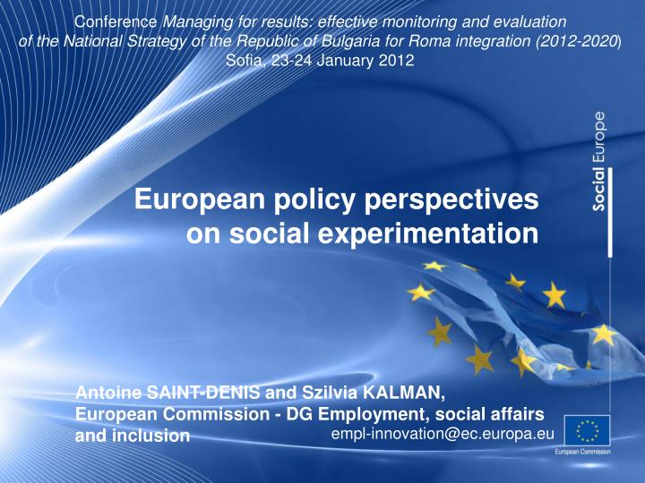 european policy perspectives on social experimentation n.