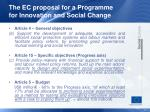 the ec proposal for a programme for innovation and social change
