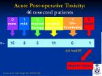 acute post operative toxicity 46 resected patients
