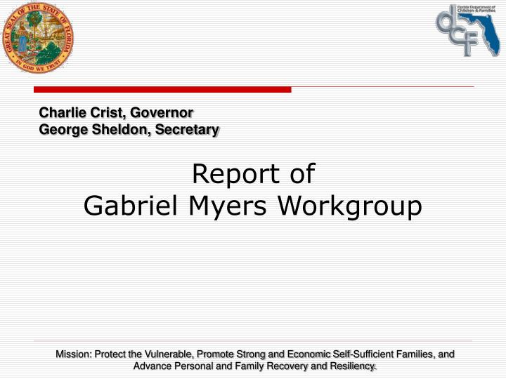 report of gabriel myers workgroup n.